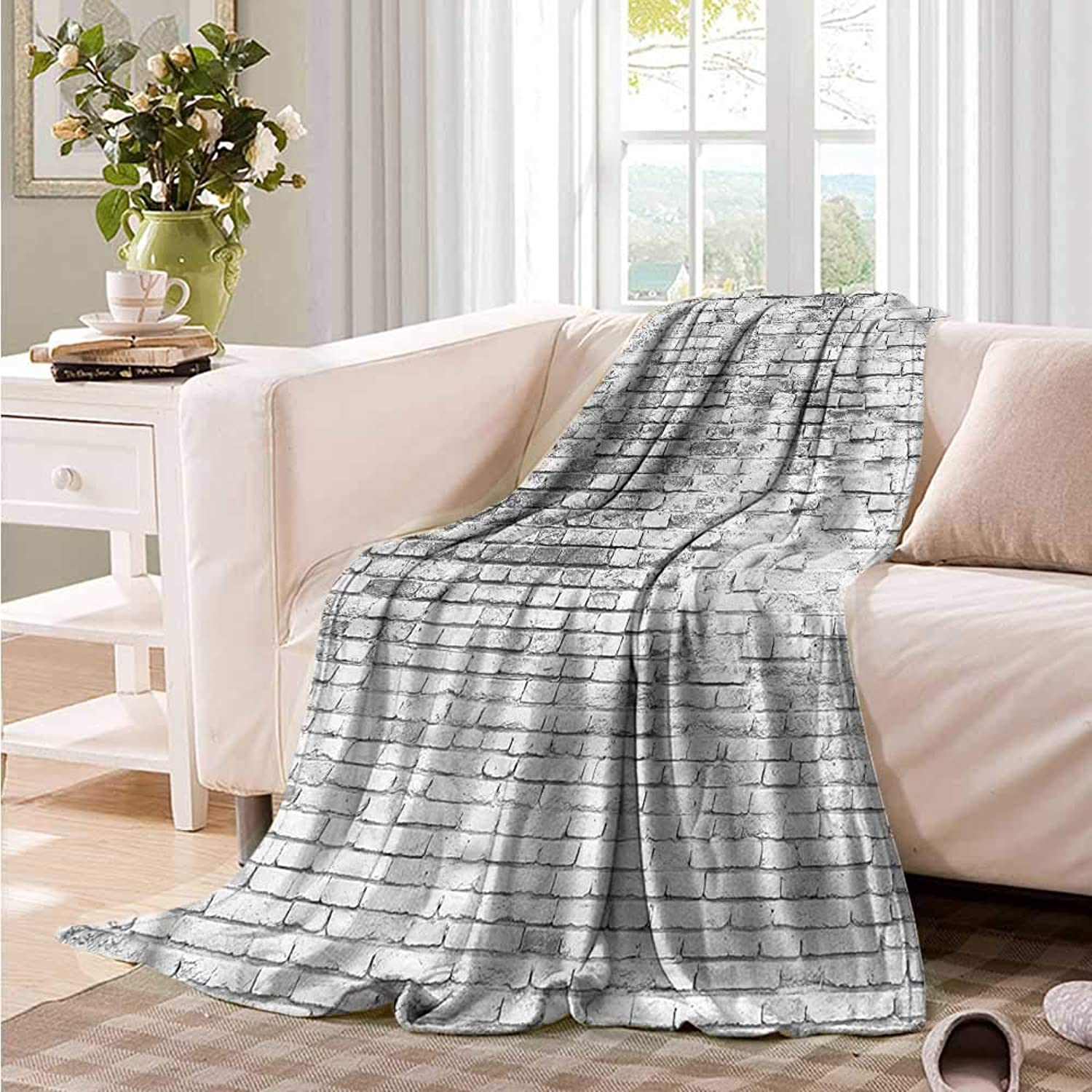Oncegod Nap Blanket Brick Wall Worn Out Grunge Design Camping Throw,Office wrap 60  W x 51  L