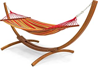 Best Choice Products Wood Curved Arc Hammock Stand w/ Cotton Hammock for Outdoor, Garden, Patio - Multicolor