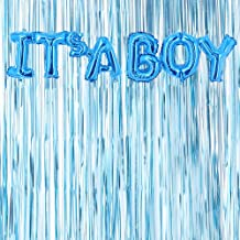 Blue Metallic Fringe Curtains & It's A Boy Foil Balloon Kit- Baby Shower Decorations Blue Wall Decoration Pastel Blue Photo Prop Backdrop Boys Birthday Party (Blue, Pack of 2)