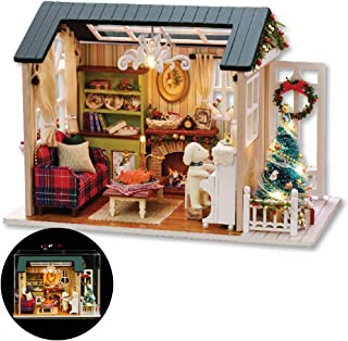 Diy Wooden Dollhouse With Miniature Furniture Accessories, 1:24 scale Miniature Handmade 3D Puzzle Dollhouse Model Kits Gift Collection Decor Toys, with Music movement Dust Cover (Holiday times)