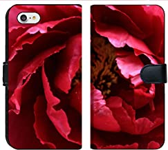 MSD Premium Phone Case Designed for iPhone 7 and iPhone 8 Flip Fabric Wallet Case Image ID: 9490744 red Peony