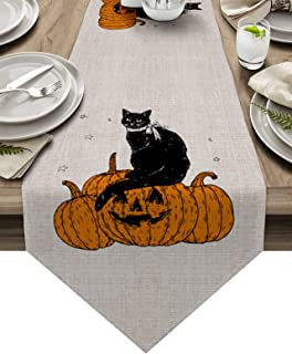 Halloween Table Runner 90 inches Long for Kitchen Dining Table Retro Black Cat Pumpkins Coffee Table Runner for Living Roo...