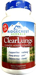 RidgeCrest Clearlungs (Red), Herbal Breathing Support, Original Formula , 120 Vegetarian Capsules