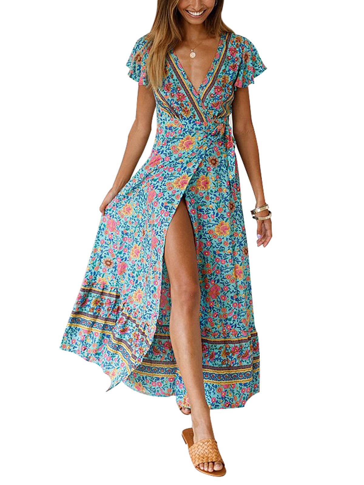 Available at Amazon: Temofon Women's Dresses Bohemian Floral Printed Summer Casual Short Sleeve Wrap V-Neck High Split Ethnic Maxi Dress