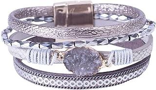 PLAPRO النساء متعدد الطبقات الجلود التفاف سوار اليد مضفر حبل الكفة الإسورة مع مشبك مغناطيسي مجوهرات
