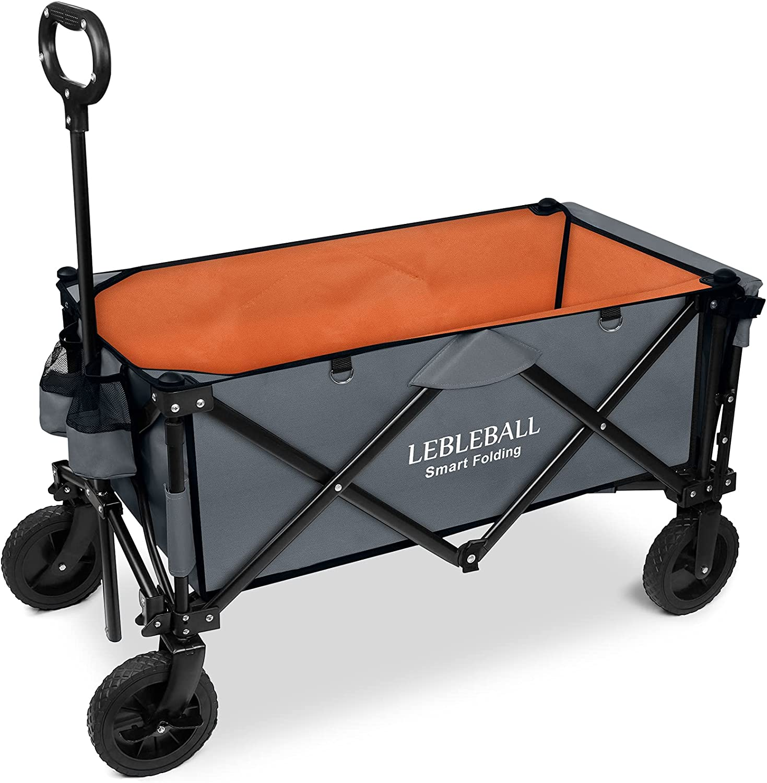 LEBLEBALL Folding Outdoor Beach Wagon Portable Heavy Duty Large Capacity Folding Utility Wagon All Terrain Wagon Cart with 2 Cup Holders and Big Brake Wheels - Orange