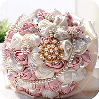 Top Sale Handmade Rose Satin Flowers Bridal Bouquets Crystal Brooch Bridesmaid Holding Flowers Handmade 2019 Manual Bouquet,Cameo