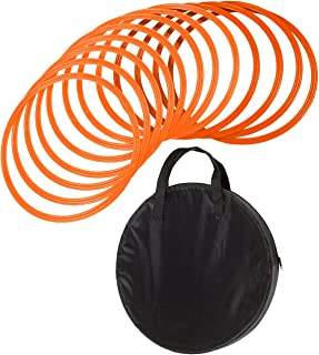 """Trademark Innovations Speed & Agility Training Rings with Carrycase (Set of 12), 16"""", Orange"""