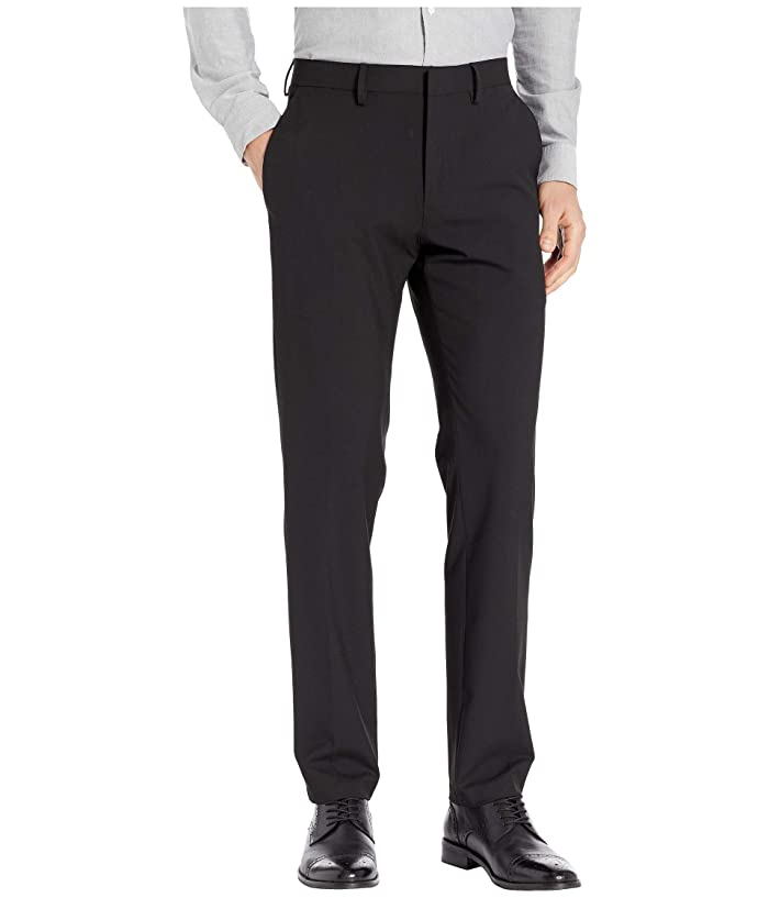 Kenneth Cole Reaction  Solid Gab Four-Way Stretch Slim Fit Dress Pants (Black) Mens Casual Pants