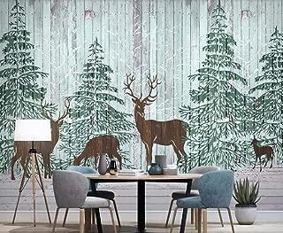 Wall Mural 3D Forest Moose Pine Forest Wood Grain Custom Wallpaper 3D Effect Large Mural Wall Murals Home Decor,400cmX280cm