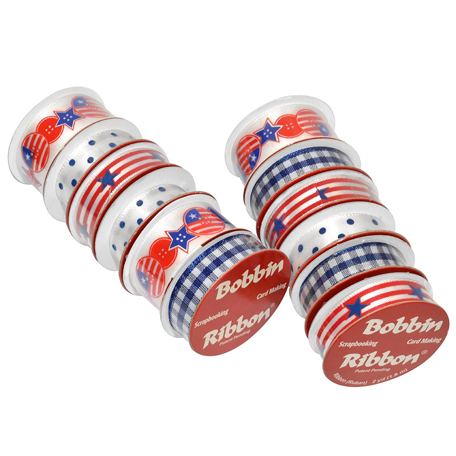 Morex Ribbon American Pride Bobbin Variety 12 Pack, Polyester, 3/8 inch by 6 feet Mixed, Red/White/Blue, Item 900/12-1212, 3/8
