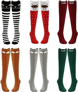 Girls Cute Animal Socks, PHOGARY 6 Pairs Knee High Socks Long Warm Cotton Socks, Over Calf Over Knee Cartoon Socks For 3-12 Years Old Girls Kids Teens Christmas Gift, Cat Bear Fox Pattern