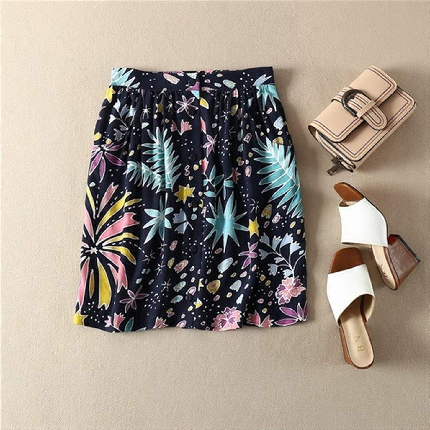 混沌時制繊毛QSCFRET フランスの夏休みスカート通気フロービスコースシングルブレストポケットプリーツスカート (Color : Sea Grass, Size : M)