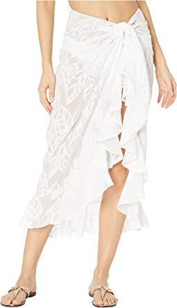 Resort White Vertical Leaf Poly Crepe Clip Jacquard
