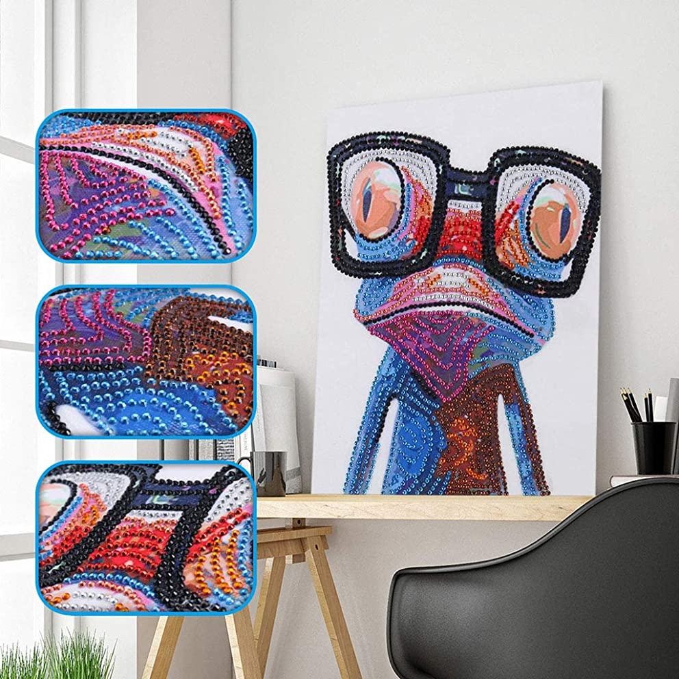 Amersin DIY 5D Special Shaped Diamond Painting by Number Kits, Full Drill Rhinestone Embroidery Cross Stitch Pictures for Christmas Home Decor (Frog)