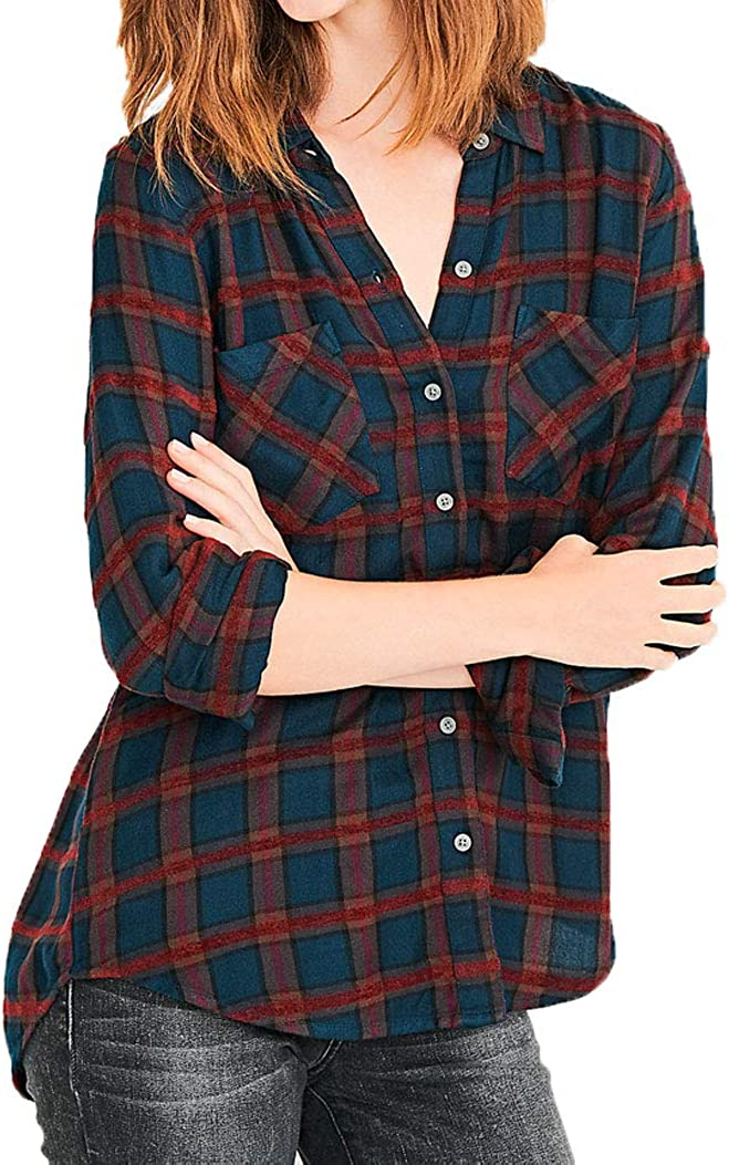 OFFicial mail order Outstanding Lucky Brand Women's Button Up Plaid Top Multi