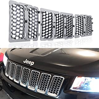 Danti 2016 Latest Chrome Front Grill Mesh Grille Cover Inserts For 2014 2015 2016 Jeep Grand Cherokee 7PC
