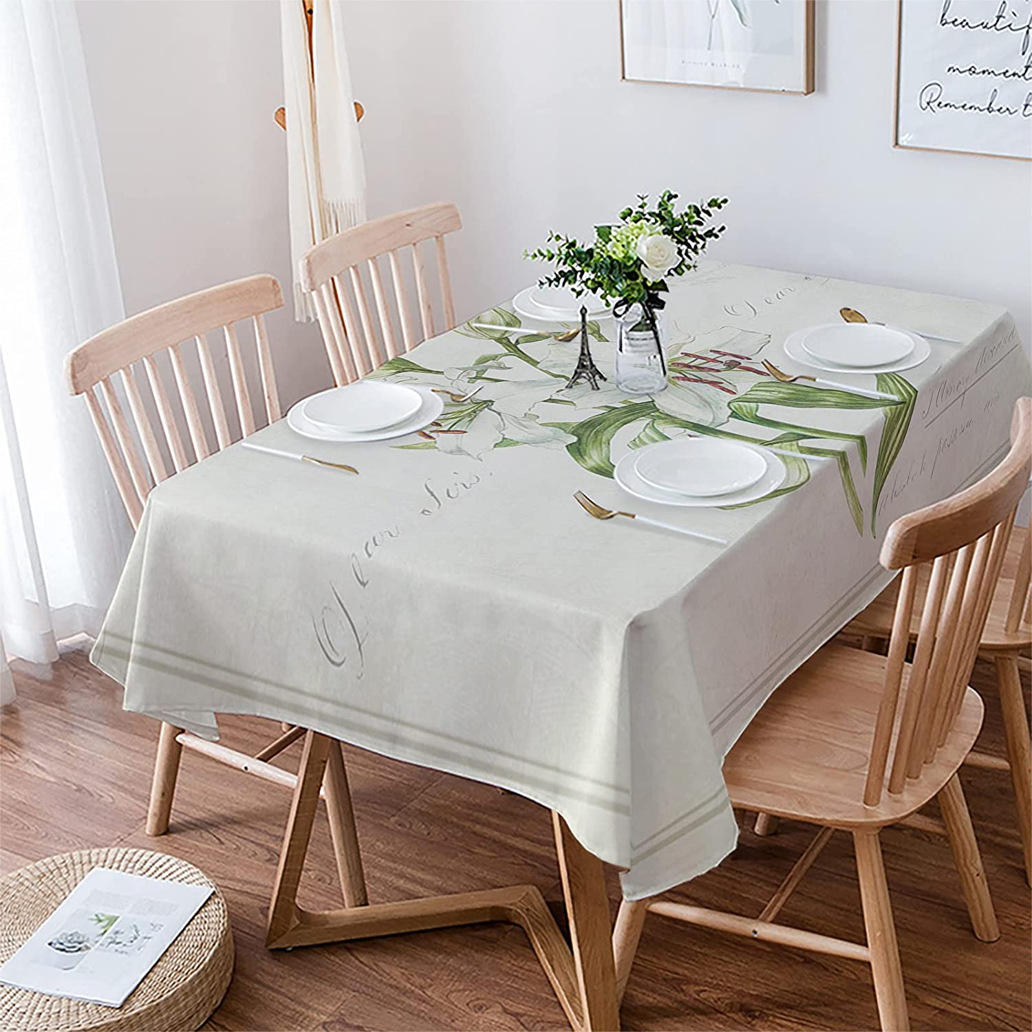 LBDEKOR Table Cloth Washington Mall Wrinkle Rapid rise Free Cover Rectangle 54 Dining