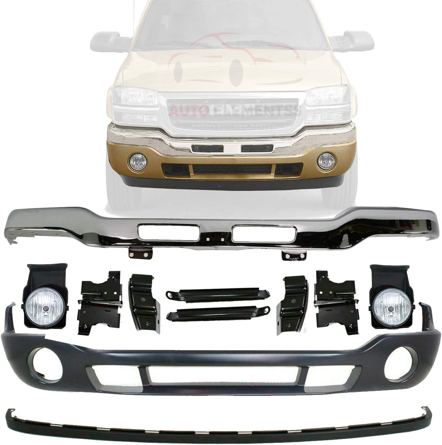 Buy New Front Bumper Chrome With Brackets Lower Valance Primed Extension Textured Fog Light Left Driver Right Passenger Side For 2003 2006 Gmc Sierra 1500 2500hd 3500 Direct Replacement Online In Indonesia B07vf768x7