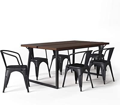 Simpli Home Larkin SOLID WOOD and Metal 66 inch Wide Industrial 7 Pc Dining Set with 6 Upholstered Dining Chairs in Distressed Black and Silver