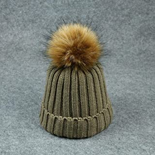 Knitted Hats for Women Hair Ball Knit Hat