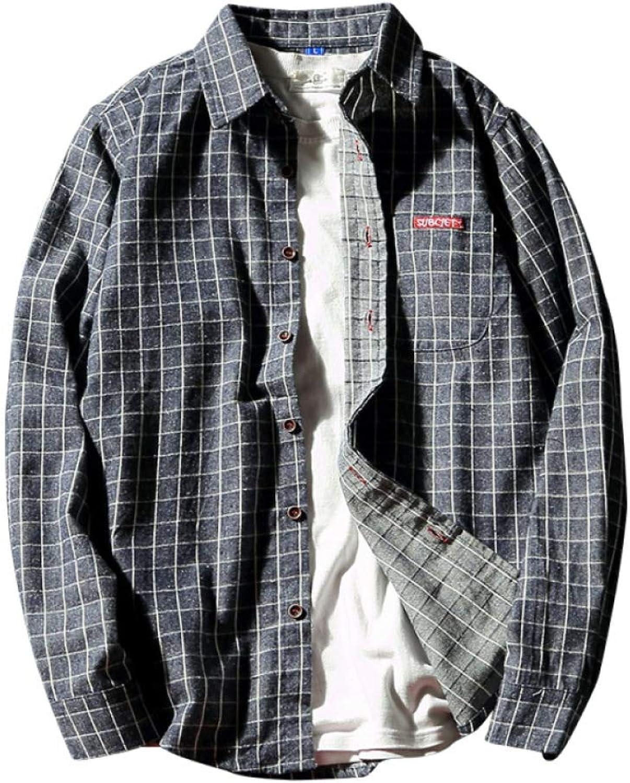 Herren Plaid Shirt Klassischer Plaid Print Slim Fit Langarm-Shirt Streetwear Shirt Cotton Jacket