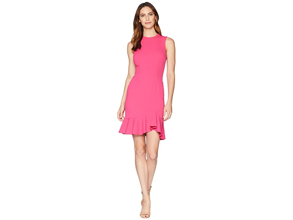 Donna Morgan Sleeveless Crepe Dress with Exposed Back Zip (Shocking Pink) Women