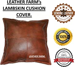 Thick Genuine Leather Pillow Cover TAN Decorative for Couch Throw Pillow Case TAN Leather Cushion Cover Solid Color (20''x20'')
