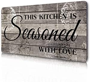 Rustic Kitchen Decorations Wall Art, Farmhouse Kitchen Decor-This Kitchen is Seasoned with Love-Printed Wood Plaque Kitchen Signs Wall Decor 16