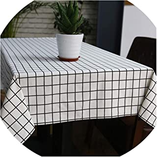 Fragrancety Tablecloths Linen Tablecloth Country Plaid Print Rectangle Table Cover Home Kitchen Decoration,White,140x180cm