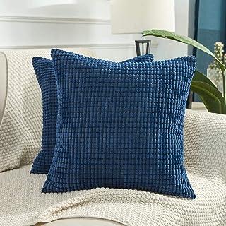 Throw Pillow Covers - 2Pack Pillowcase, Decorative Euro Pillow Covers Corn Striped, Soft Corduroy Cushion Case, Throw Pill...