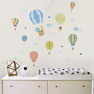 Hot Air Balloon Wall Decals, Cloud Wall Decals, Animals Wall Stickers for Kids Room Nursery, Vinyl Wall Decals for Bedroom, Non-Toxic and Tasteless, Very Suitable for Baby Rooms(A46)