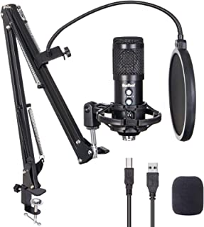 USB Microphone for Computer, Budbof Gaming Mic Kit with Boom Stand for Podcast Streaming Singing, Real Time Monitor Function