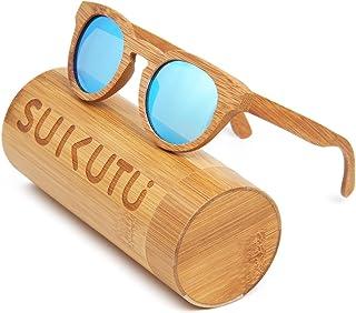 SUKUTU Uomo Donna Occhiali da sole in bambù fatti a mano Occhiali Occhiali da sole polarizzati per esterni in legno retro ...