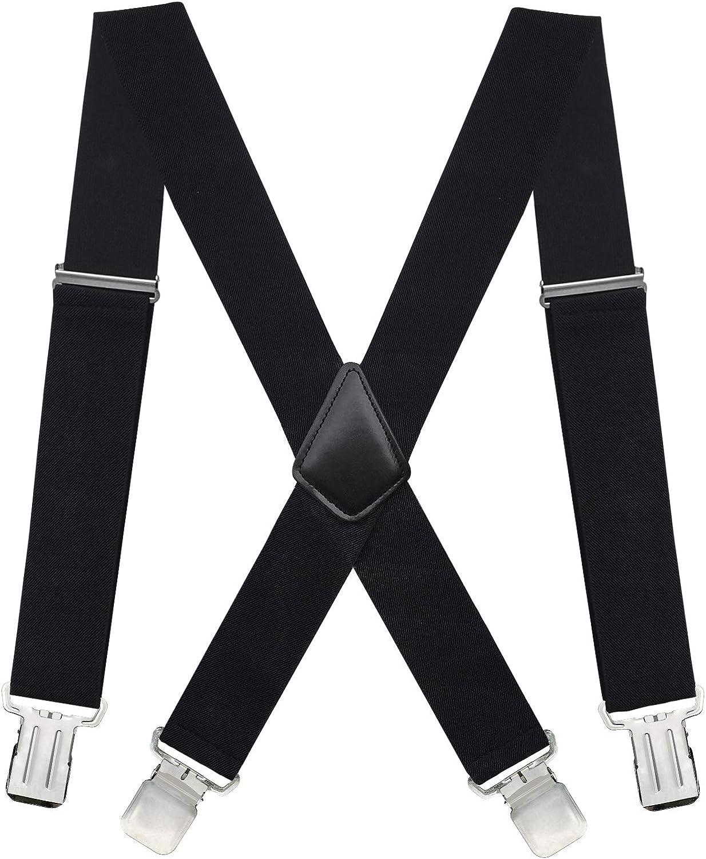 Loritta Suspenders for Men Heavy Duty X-Back Adjustable Elastic Straight Clip Suspenders,05 black suspenders