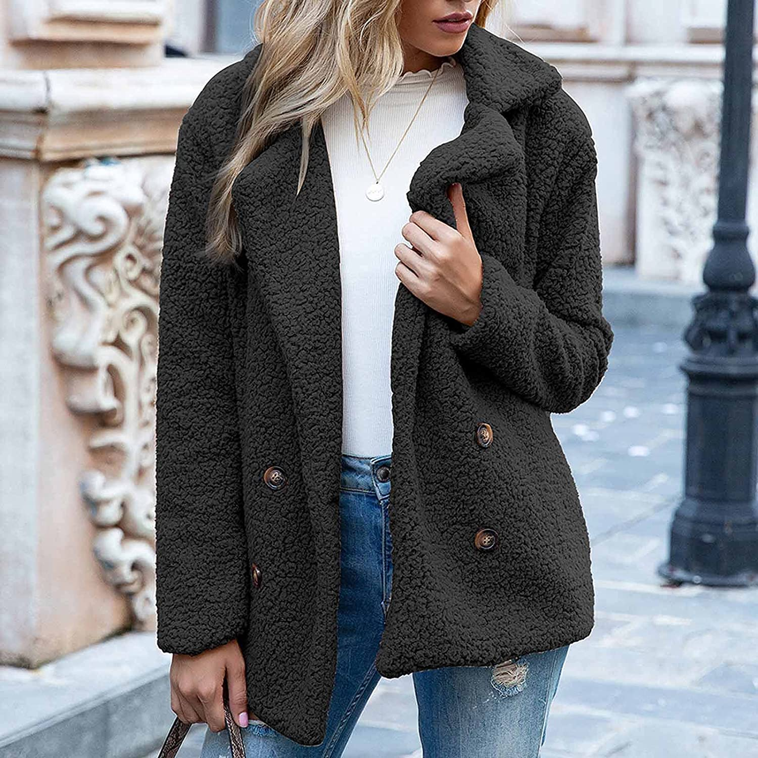 Womens Ladies Warm Jacket Winter Solid Turncoat Down Collar Lambswool Outerwear Plush Long Sleeve Shirt Soft Cardigan