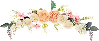 FLCSIed Artificial Peony Flower Swag, 75CM Decorative Swag with Champagne Peony White Rose and Green Leaves for Wedding Ar...