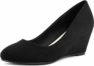 Greatonu Chaussures Femme Compsensée Mi Talon EU 36-41 (Un Peu Petite)