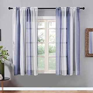 Top Finel Sheer Curtains 63 Inch Length for Bedroom Living Room Navy Blue Vertical Striped Rod Pocket Yarn Dyed Window Curtains, 2 Panels