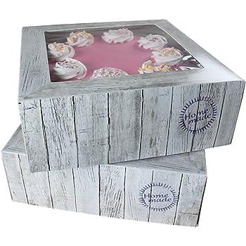 FunCakes - Caja para cupcake o pastel, cuadrada, transporte 26 x 26 x 12 cm Kuchenschachtel: Amazon.es: Hogar