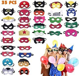 Superhero Masks, 35 Pack Felt Masks Superheroes Birthday Party Masks for Kids Party Cosplay