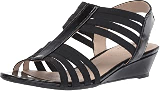 LifeStride Women's Yours Wedge Sandal, Black, 6.5 M US