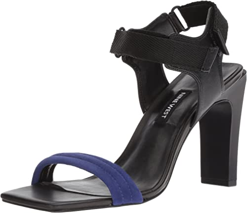 Nine West Woherren ZEBREE Suede Heeled Sandal, Dark Blau Multi, 6.5 M US