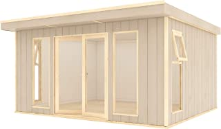 4.26m x 3.4m 14 x 10 Garden Room Home Office Pressure Treated Pent Overhung Lounge Summerhouse with Opening Windows