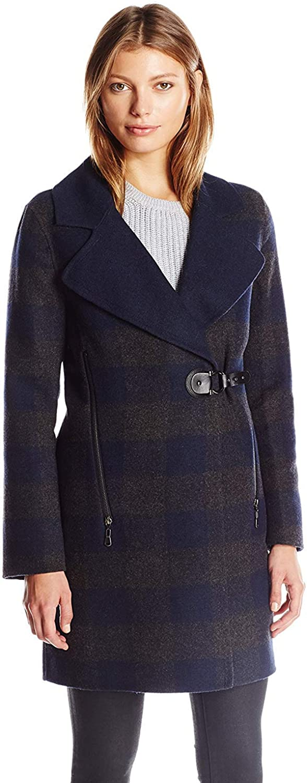 Dolce Vita Women's Ingrid Long Wool Coat with Faux Leather Belt Trim