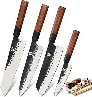WILDMOK Ensemble de Couteaux forgés, 4 pièces, 3 Couches à Haute teneur en Carbone 9CR18MOV Ensemble de Couteaux de Cuisin...