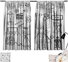 Yellow Curtains Movie Theater,Hand Drawn Symbols of Hollywood Oscar 3D Glasses Sketch Style Arrangement, Black White 84