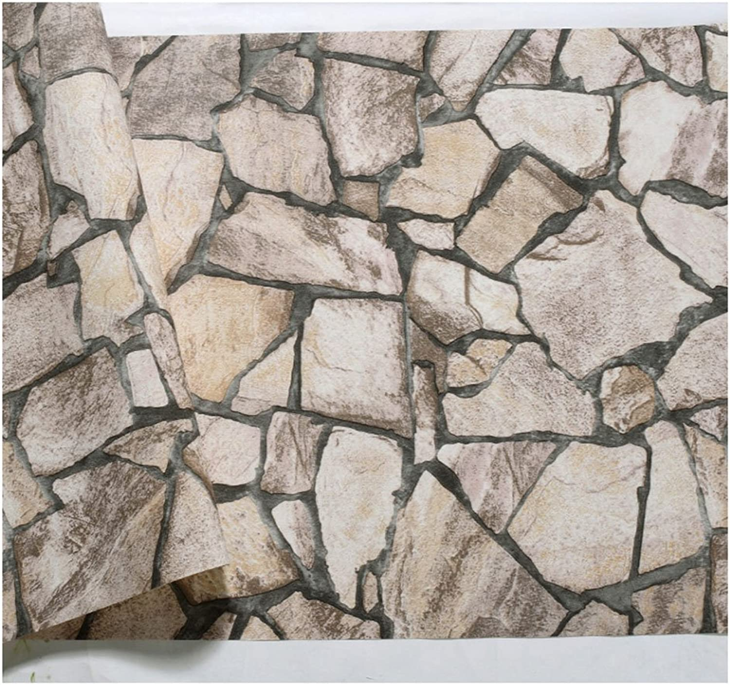 Retro Vintage Stone Marble Culture Stone Wallpaper Restaurant Bar Cafe Brick Wallpaper (color   Light Khaki.)