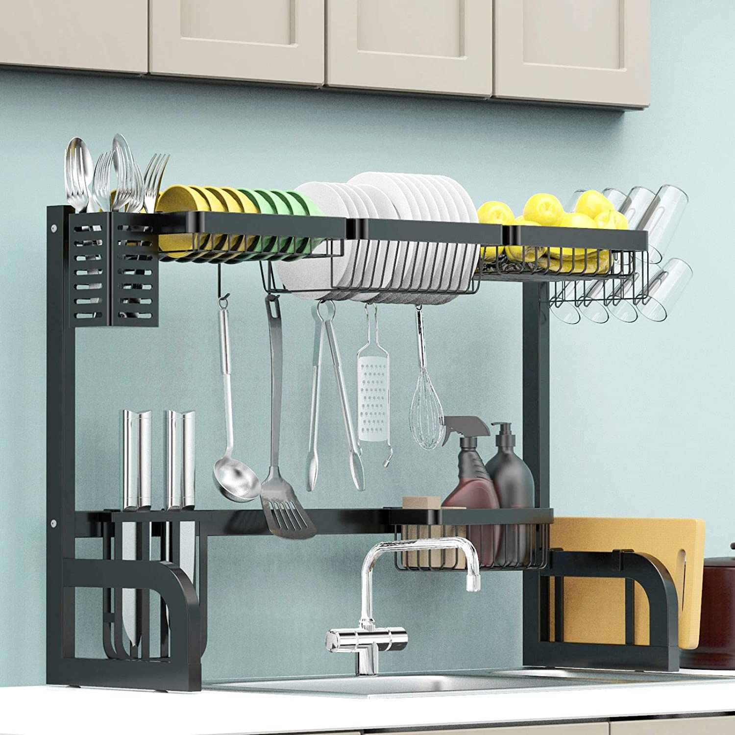Over The Sink Dish Drying Max 86% OFF 2 service Tier Stainless Steel Rack