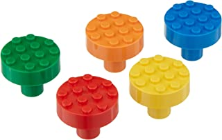 Set of 5 Build-On Brick Knobs (Assorted Colors)